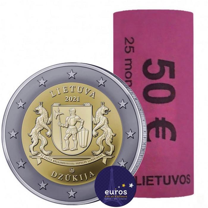 Rouleau 25 x 2 euros commémoratives LITUANIE 2021 - Dzukija - Régions Ethnographiques Lituaniennes - UNC