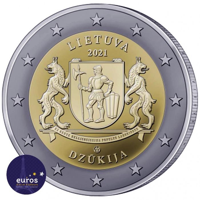 Avers de la pièce de 2 euros commémorative LITUANIE 2021 - Dzukija - Régions Ethnographiques Lituaniennes - UNC
