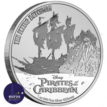 Pièce de NIUE 2021 - 2$ NZD Pirates des Caraïbes™ - The Flying Dutchman™ - 1oz argent - Bullion Coin