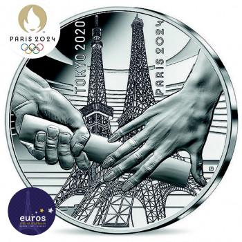 Avers de la pièce 10 euros FRANCE 2021 - Jeux Olympiques Paris 2024™ - Passation de drapeau Tokyo-Paris - Argent Belle Épreuve