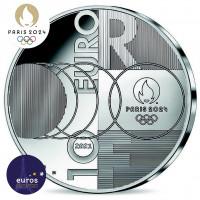 Revers de la pièce 10 euros FRANCE 2021 - Jeux Olympiques Paris 2024™ - Passation de drapeau Tokyo-Paris - Argent Belle Épreuve