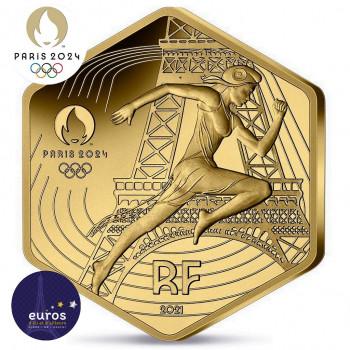 Avers de la pièce de 250 euros hexagonale FRANCE 2021 - Jeux Olympiques Paris 2024™ - Or pur 999‰