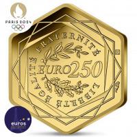 Revers de la pièce de 250 euros hexagonale FRANCE 2021 - Jeux Olympiques Paris 2024™ - Or pur 999‰