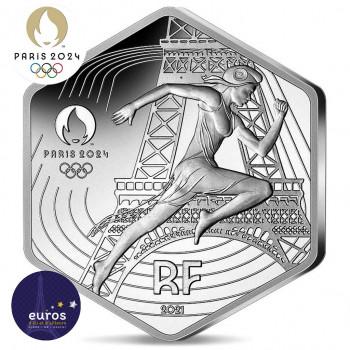 Avers pièce 10 euros hexagonale FRANCE 2021 - Jeux Olympiques Paris 2024™ - Marianne - Argent 500‰