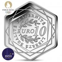 Revers pièce 10 euros hexagonale FRANCE 2021 - Jeux Olympiques Paris 2024™ - Marianne - Argent 500‰