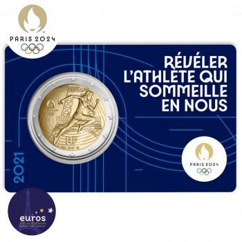 Avers du coincard 2 euros commémorative FRANCE 2021 - Jeux Olympiques Paris 2024 - Brillant Universel - Bleu 1/5