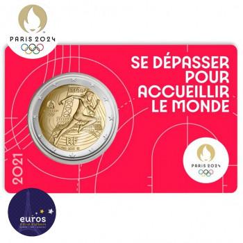 Avers du coincard 2 euros commémorative FRANCE 2021 - Jeux Olympiques Paris 2024 - Brillant Universel - Rouge