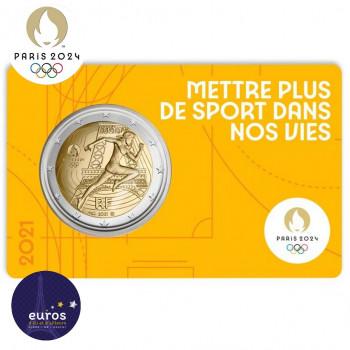 Avers du coincard 2 euros commémorative FRANCE 2021 - Jeux Olympiques Paris 2024 - Brillant Universel - Jaune