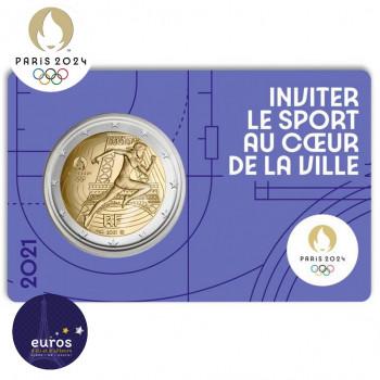 Avers du coincard 2 euros commémorative FRANCE 2021 - Jeux Olympiques Paris 2024 - Brillant Universel - Violet