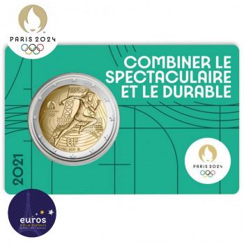 Avers du coincard 2 euros commémorative FRANCE 2021 - Jeux Olympiques Paris 2024 - Brillant Universel - Vert