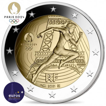 Avers de la pièce de 2 euros commémorative FRANCE 2021 - Jeux Olympiques Paris 2024