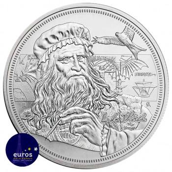 Avers de la pièce NIUE 2021 - 2$ NZD Leonard de Vinci - Les Icônes de l'Inspiration (2) - 1oz argent - Bullion Coin