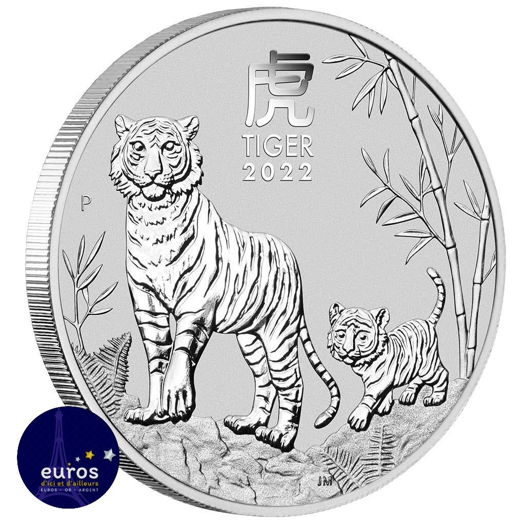 Avers de la pièce d'investissement AUSTRALIE 2022 - 0,50$ AUD - L'Année du Tigre - 1/2oz argent - Bullion