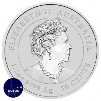 Revers de la pièce d'investissement AUSTRALIE 2022 - 0,50$ AUD - L'Année du Tigre - 1/2oz argent - Bullion