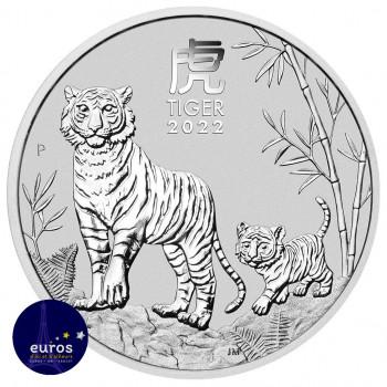 Avers du bullion AUSTRALIE 2022 - 1$ AUD - L'Année du Tigre - 1oz argent - Bullion