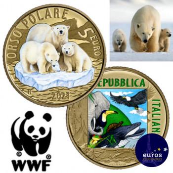 Avers et revers de la pièce 5 euros ITALIE 2021 - Ours Polaire - Espèces animales en voie d'extinction WWF - Belle Épreuve