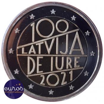 Pièce de 2 euros commémorative LETTONIE 2021 - 100 ans Reconnaissance République Lettonie - UNC