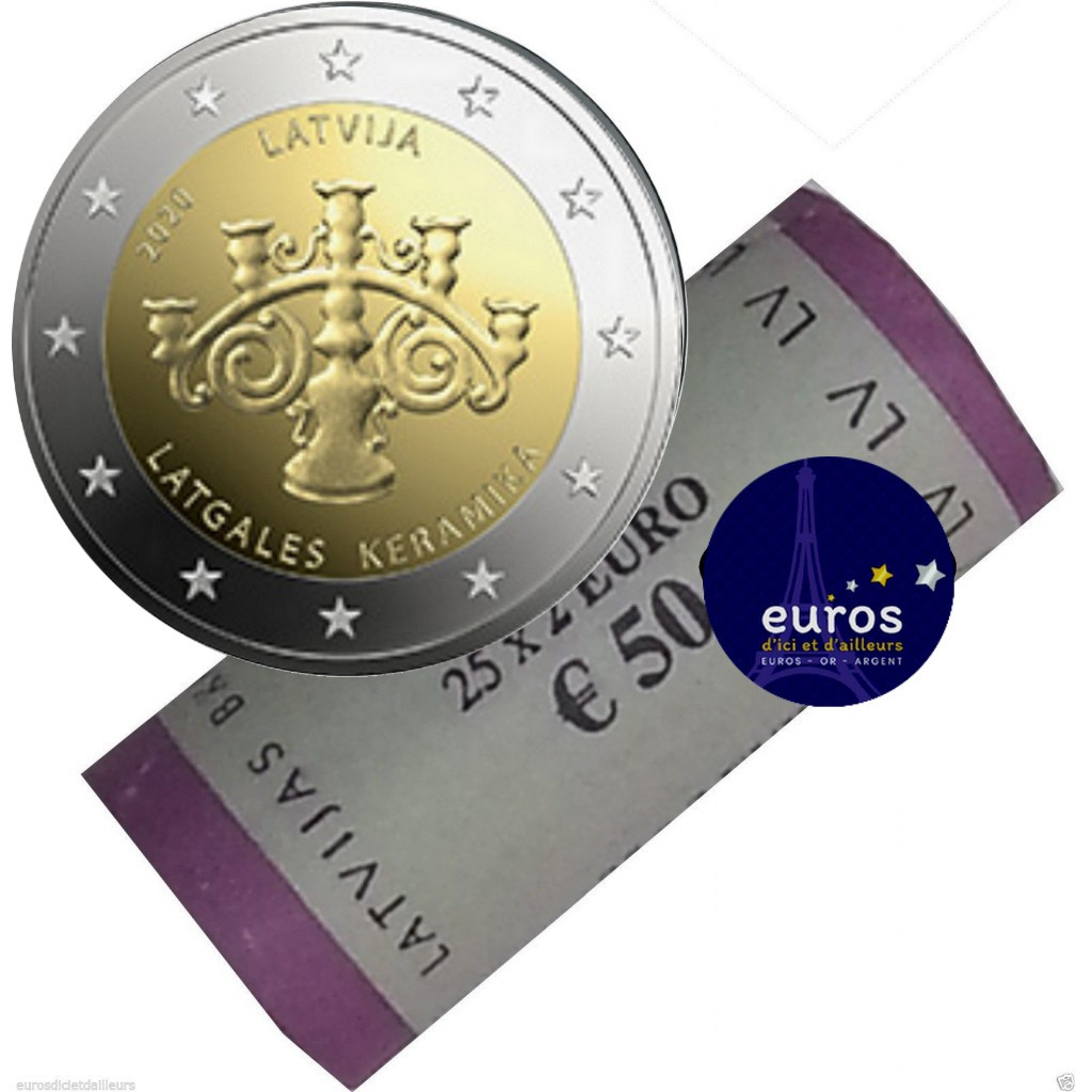 Rouleau 2 euros commémorative LETTONIE 2020 - Céramique de Lettonie