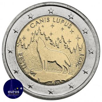 Avers de la pièce de 2 euros commémorative ESTONIE 2021 - Le Loup, Animal National - UNC