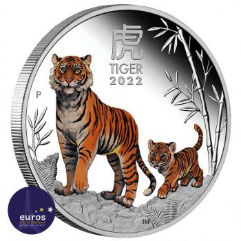 Avers pièce 1dollar AUD - Année du Tigre colorisée - 1oz once argent - Belle Épreuve
