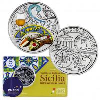 Coincard poièce 5 euros commémorative ITALIE 2021 - Gastronomie Italienne - Cannolo et Passito
