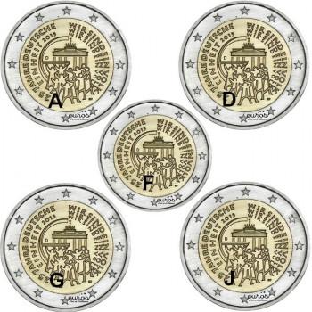 5 x 2 euros commémoratives ALLEMAGNE 2015 ADFGJ - 25ème anniversaire de la Réunification Allemande